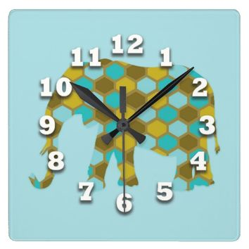 Elephant Olive Green Light Blue Design Square Wall Clocks