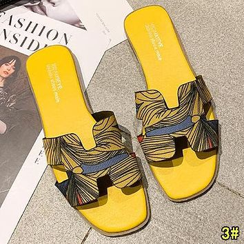 Hermes Fashion Women Leather Slipper Sandals Shoes 3#