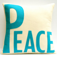 Peace Appliqued EcoFelt Pillow Cover Peacock by DancingArethusa