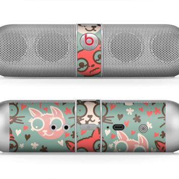 The Vector Cat Faced Collage Skin for the Beats by Dre Pill Bluetooth Speaker