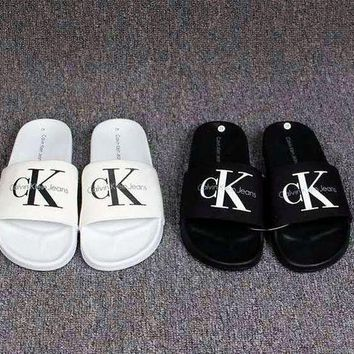 onetow One-nice? Calvin Klein Casual Woman Fashion Sandals Slipper Shoes white