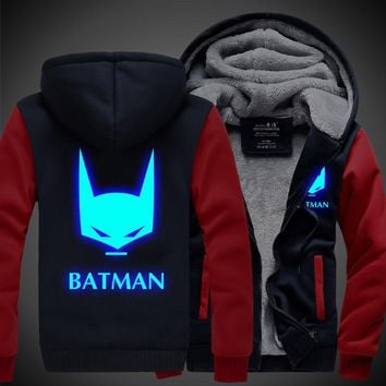 2017 Unisex BATMAN Zipper Luminous Sweatshirts Men Hoodie Winter Fleece Thicken Jacket Coat