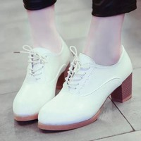 Oxford Shoes With Low Stacked Heel on Luulla