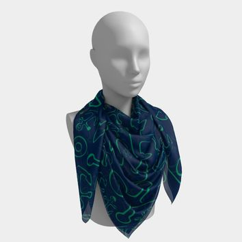 Anchor Dream Square Scarf - Green on Navy
