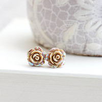 Tiny Rose Stud Earrings Tan Roses Flower Studs Pretty Little Rose Iridescent Metallic Shimmer Surgical Steel Posts Nickel Free Gift for her