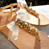 Wedding sandals -Pearls sandals - Gold pearls and satin bow sandals - Greek leather sandals -Bridesmaids shoes - Beach wear - Summer sandals