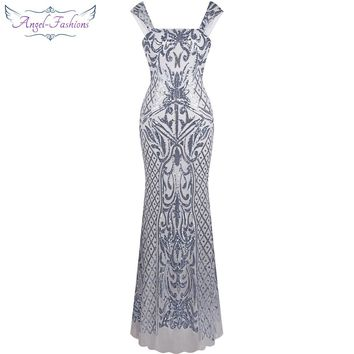 Angel-fashions Vintage Gatsby Flapper Sequin Mermaid Long Evening Dress Silver 308