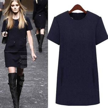 Fashion Short Sleeve Wool Women Dresses = 1901182340