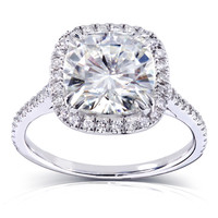Annello 14k Gold Cushion-cut Moissanite and 1/4 ct TDW Diamond Engagement Ring (G-H, I1-I2)