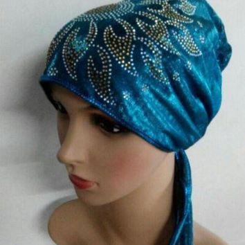 ICIKJG2 chemo bonnet cap Headwrap hat shimmer back tie under hijab hijab mixed 8 Colour 12pcs/lot free ship