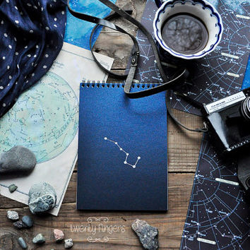 "Navy  Blue notebook-sketchbook with a carved pattern - constellation ""Ursa Major"""