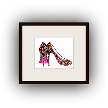 louis vuitton leopard shoes, watercolor painting, Printable vanity Wall decor, decal  decals, print, girl, fashion heels shoe, bathroom deco