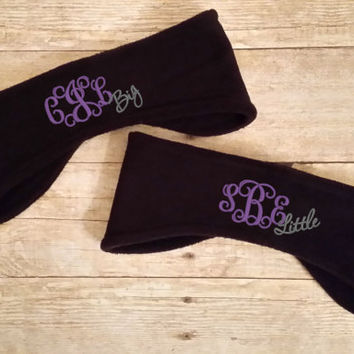 Big Little Sorority Ear Warmers - Personalized Ear Muff - Set of 2 - Sorority Personalized Headband - Sorority Sisters - Big Little Gift