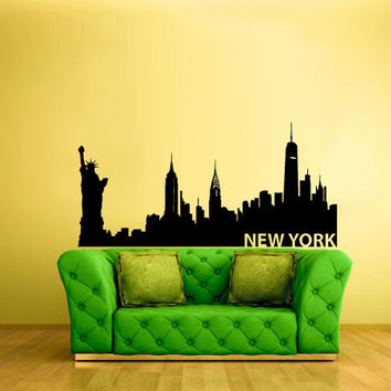 rvz1037 Wall Vinyl Sticker Bedroom Decal Words Sign New York Town City Skyline