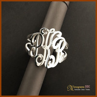 """Sterling Silver Three Initial Monogram Ring """"100% Satisfaction Guarantee or Money Back"""""""