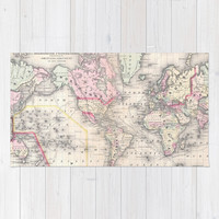 Vintage Map of The World (1864) Area & Throw Rug by BravuraMedia | Society6