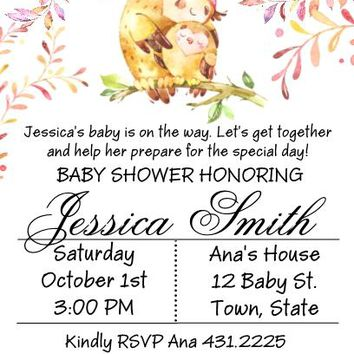 10 Woodland Owl Baby Shower Invitations