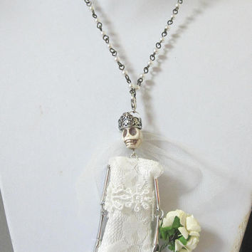 Day Of The Dead Bride Necklace Sugar Skull Jewelry Skeleton Dia De Los Muertos Doll