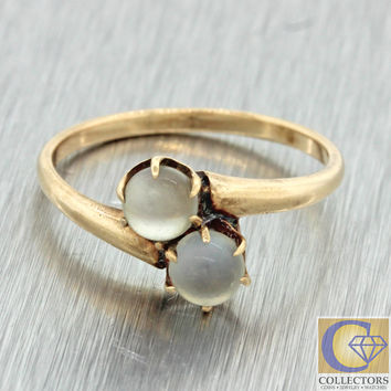 1880s Antique Victorian 14k Solid Yellow Gold Double Moonstone Toi Et Moi Ring