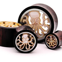"""Pair of 5/8"""" (16mm) Sono Wood Tunnels with Mother of Pearl Octopus Inlay"""