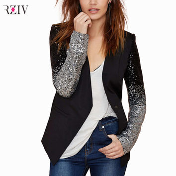 PU leather stitching silver black gradient sequined blazer stitching a buckle Slim women coat