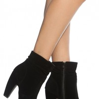Black Faux Suede Chunky Ankle Booties @ Cicihot. Booties spell style, so if you want to show what you're made of, pick up a pair. Have fun experimenting with all we have to offer!