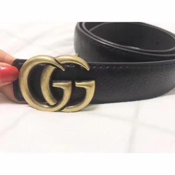 ESBON Gucci' Women Simple Fashion All-match Retro Metal Double G Letter Needle Buckle Leather Belt Waistband