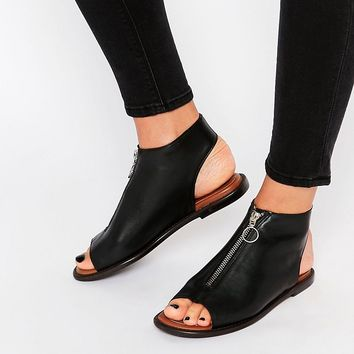 Warehouse Leather Zip Up Shoe Boot at asos.com