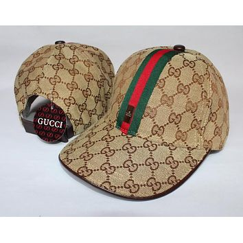 GUCCI Classic Popular Women Men Embroidery Sports Sun Hat Baseball Cap Hat Khaki