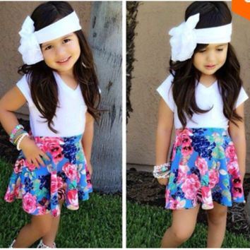 Girls 2 PC Short Sleeve Top and Skirt