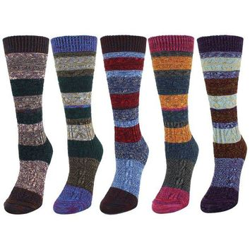 DCCK2JE Zmart 5 Pack Women's Thick Knit Wool Cotton Vintage Colorful Casual Fall Winter Crew Socks