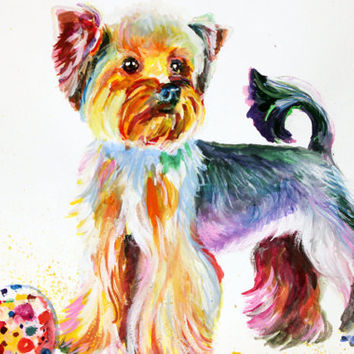 YORKSHIRE TERRIER Dog Watercolor Painting Art Print Yorky Art DogPortraitYorkie Print animal watercolor animal art nursery Dog Room Decor28