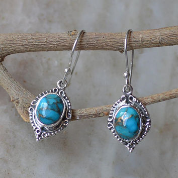 Turquoise Earrings,statement earring,Blue Turquoise Earrings,silver Stone Earring,Turquoise Drop Earrings,Natural Turquoise Silver earrings