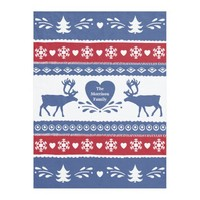 Nordic reindeer, snowflake, heart and tree pattern fleece blanket