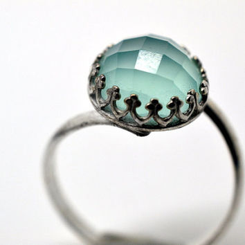 Seafoam Chalcedony Ring, Sterling Silver Cocktail Ring, Blue Green Gemstone Engagement Ring