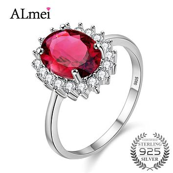 Almei 925 Sterling Silver Peridot Garnet Cirtine Ring for Women Original Stone No Allergy Nickle Free with Box for Dropshipping
