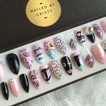 Full Set Y Gangsta Press On Nails Any Shape Handpainted Nail Art Design Genu