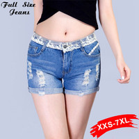 2016 Summer  Plus Size Lace Jeans Calca Hot Pant  New Design Denim Shorts Skinny Ripped Jean 4Xl Xs 6Xl Jeans Women