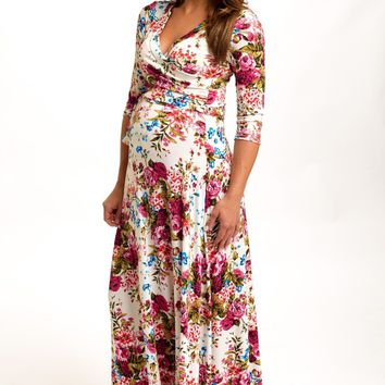 Ivory-Floral-Draped-3/4-Sleeve-Maternity-Maxi-Dress