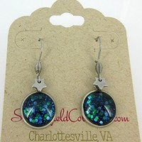 Surgical Steel Star Charm Glitter Glass Galaxy Dangle Earrings Hand-painted Blue Green