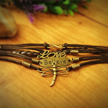 Dragonfly leather bracelet,multilayer bracelet,boho,quote bracelet,charm bracelet,braided bracelet,bronze charm,infinity,believe,love