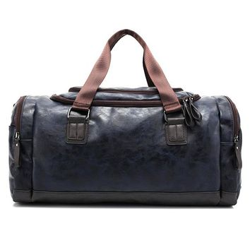 Man's PU Leather Travel Bag Large Capacity Tote Duffle Handba Laptop Height Male Bags U Zipper with Crossbody Strap