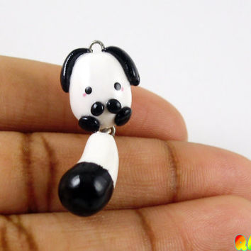 Cute Dog Charm, Hand Crafted, White and Black Dog Charm, Dog Pendant, Gift Ideas, Polymer Clay