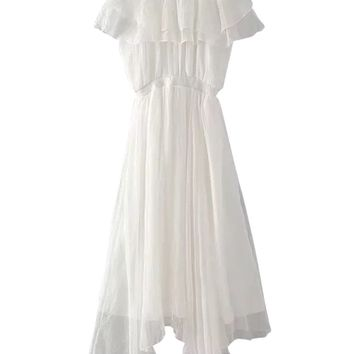 White Off Shoulder Ruffle Asymmetric Maxi Dress