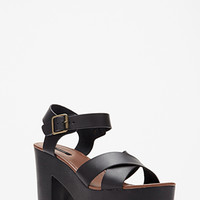 Platform Faux Leather Sandals