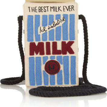 Milk Carton Canvas Shoulder Bag (Cream/Pink/Blue/Black)