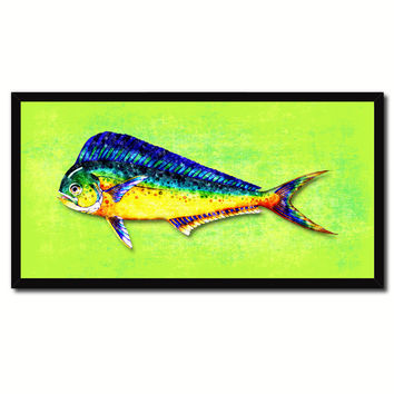 Dorado Fish Art Green Canvas Print Picture Frames Home Decor Nautical Fisherman Gifts