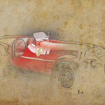 FERRARI 166S 1948, Based on my Original Drawing, Art Print 11.5x16in, valentines day
