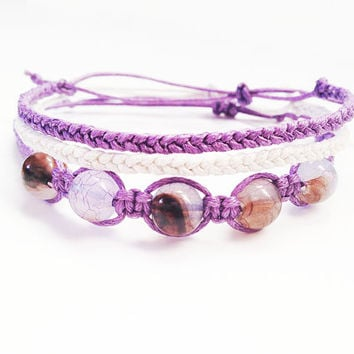 Purple Bracelet Stack, Set of Three Bracelets, Beaded Stack Bracelets, Macrame Bracelet, Best Friend Gift, Beaded Stacking Bracelets