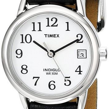 DCCKJY6X Timex Women's Indiglo Easy Reader Quartz Analog Leather Strap Watch with Date Feature